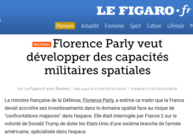 http://www.lefigaro.fr/flash-actu/2018/06/21/97001-20180621FILWWW00047-florence-parly-veut-developper-des-capacites-militaires-spatiales.php