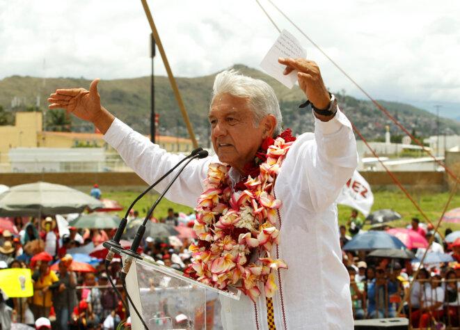 Andrés Manuel López Obrador, le 16 juin 2018, dans l'État d'Oaxaca. © Reuters / Jorge Luis Plata
