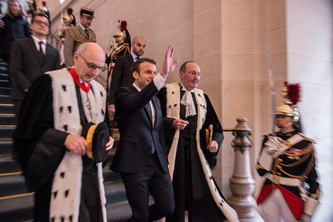 Le Président Macron lors de la rentrée de la cour des comptes
