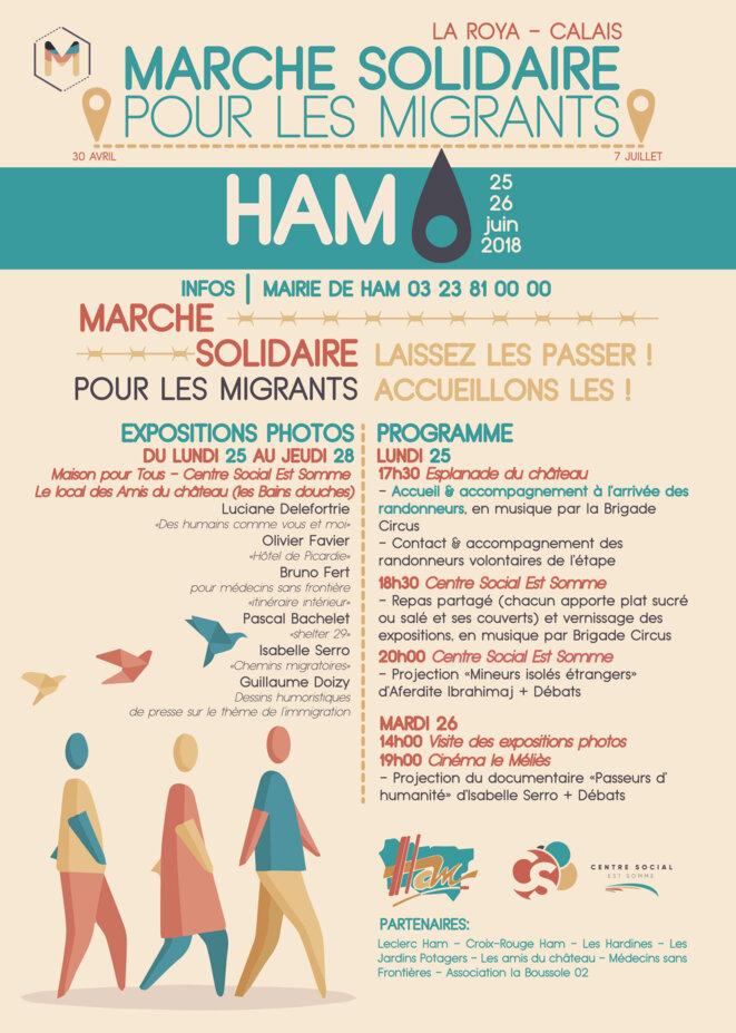 La Marche citoyenne et solidaire arrive à Ham (80) © ep/collectif marche solidaire Ham
