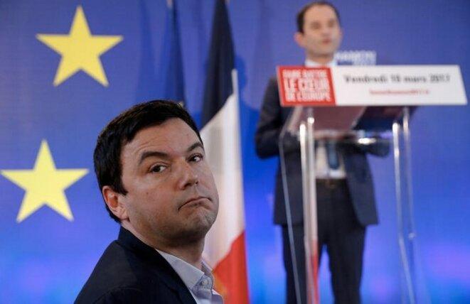 L'économiste Thomas Piketty lors d'un meeting de Benoît Hamon, le 10 mars 2017 à Paris. © Reuters / Christian Hartmann