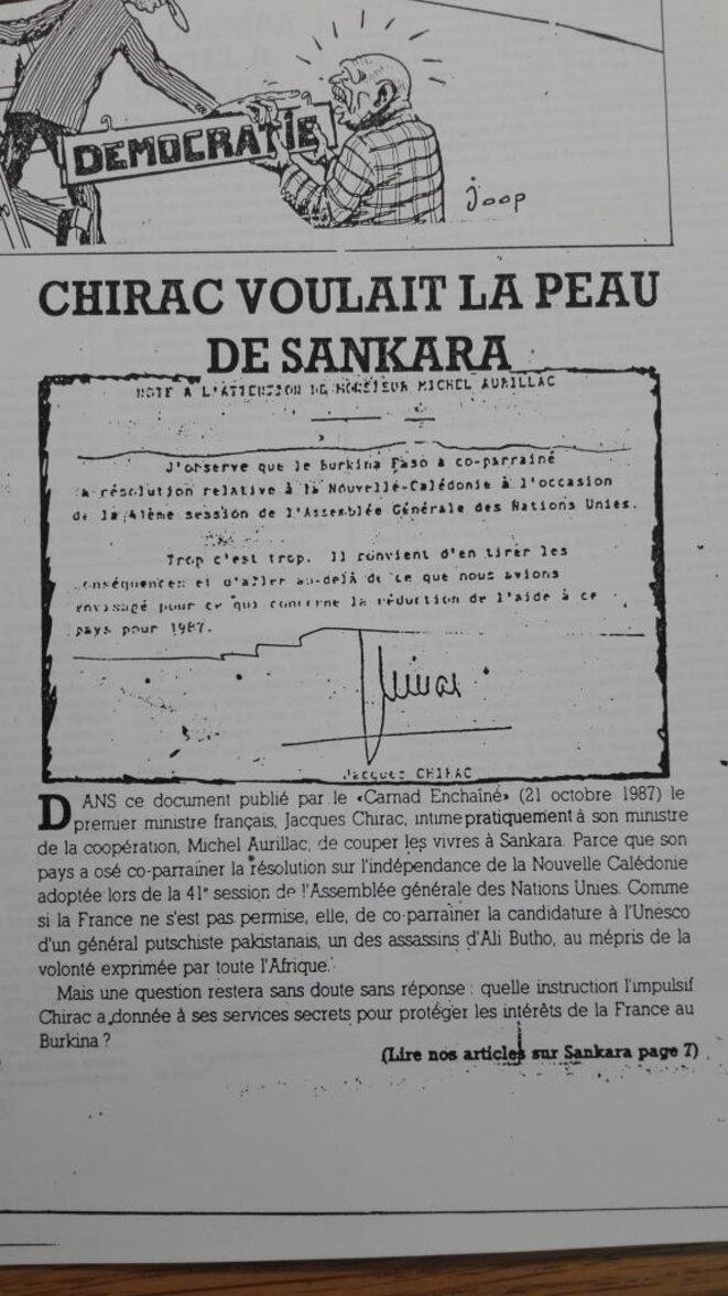 Lettre de Jacques Chirac à Michel Aurillac