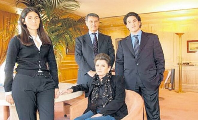 Gianluigi Aponte and his Rafaela, co-founders of MSC with their son Diego who is now CEO of the group, and his wife Ela. © Vatan