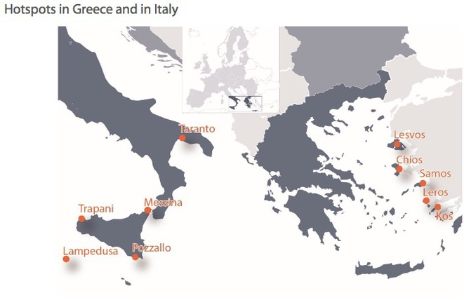 La carte des « hotspots » ouverts dans l'Union européenne. © Service documentation Parlement européen