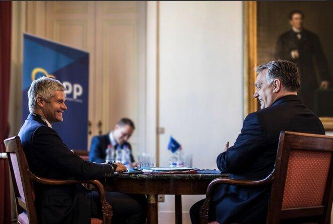 Laurent Wauquiez et Viktor Orbán à Bruxelles. © compte Twitter de Laurent Wauquiez