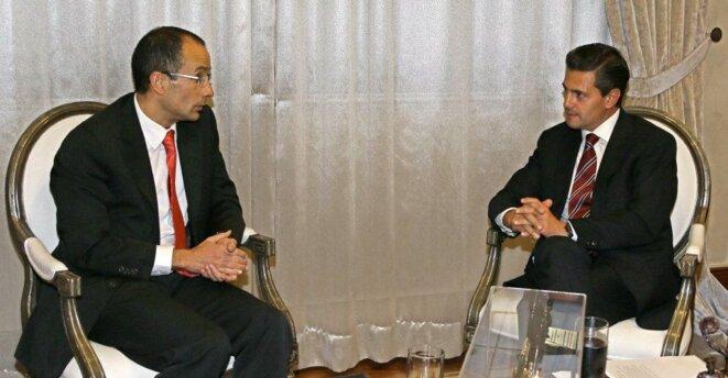 L'une des rencontres du président mexicain avec le patron d'Odebrecht. © Dr