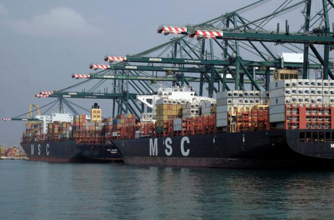 Porte-conteneurs MSC dans le port de Valence. © Reuters