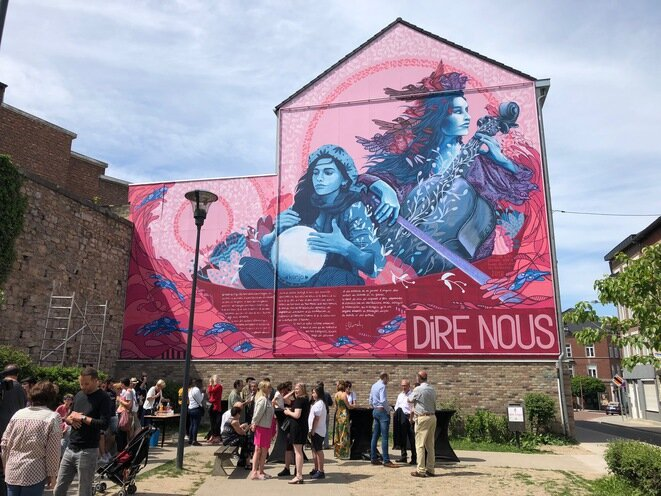 The fifth 'Dire nous' fresco in Verviers.
