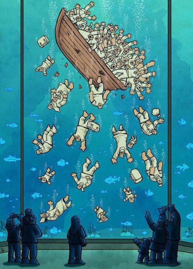 """Immigrants"" par le cartooniste iranien Alireza Pakdel. Cette illustration a gagné le grand prix du World Press Cartoon fin 2017. © Alireza Pakdel"