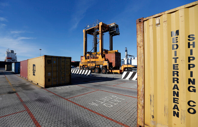 An MSC container at the port of Gioia Tauro. © Reuters