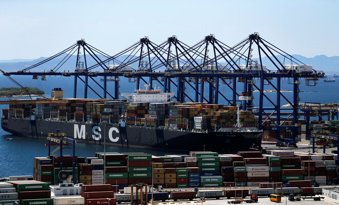 An MSC container ship.
