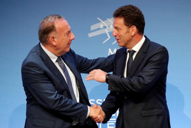 Pierre Gattaz et Geoffroy Roux de Bézieux, mardi 3 juillet juste après l'élection. © Reuters/Charles Platiau