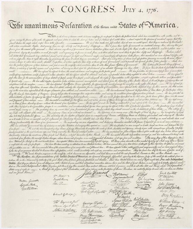 La Déclaration d'indépendance des Etats-Unis d'Amérique du 4 juillet 1776. Source: Wikimedia Commons.