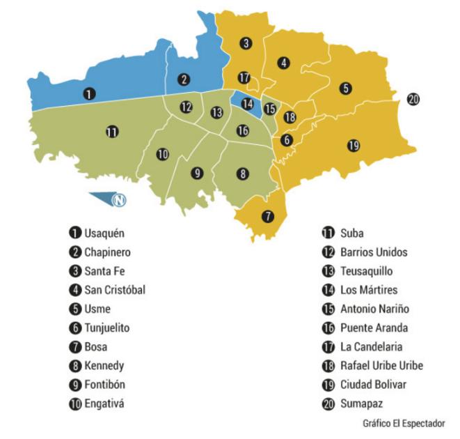 Resultado voto Bogota primera vuelta por localidad © El Espectador