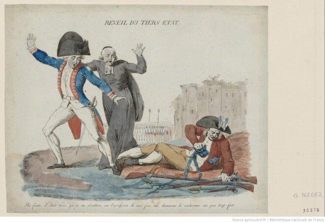 """Estampe révolutionnaire anonyme et sans date, intitulée """"Reveil du Tiers état"""". On y lit: """"ma feinte, il étoit tems que je me réveillisse, car l'opression de mes fers me donnions le cochemar un peu trop fort."""" La référence à la prise de la Bastille en arrière-plan montre que ce document a été produit après le 14 juillet 1789. Dimensions:  20,5 x 24,5 cm. Source: gallica.bnf.fr."""
