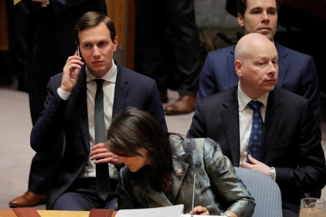 Jared Kushner, Nikki Haley et Jason Greenblatt aux Nations unies, à New York, en février 2018. © Reuters