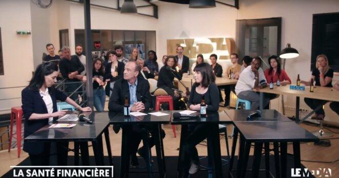 Sophia Chikirou et Gérard Miller lors de la présentation des comptes du Média. © Capture d'écran
