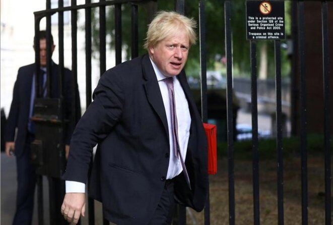 Boris Johnson devant le 10 Downing Street à Londres, le 3 juillet 2018. © Reuters