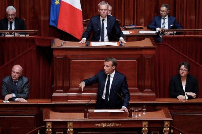 Emmanuel Macron face au Congrès de Versailles, le 9 juillet. © Reuters