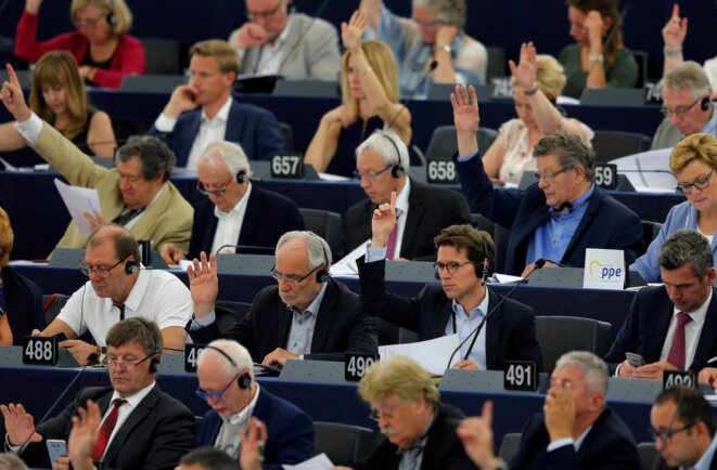European Parliament members attending a plenary session in Strasbourg in July 2018. © Vincent Kessler / Reuters.