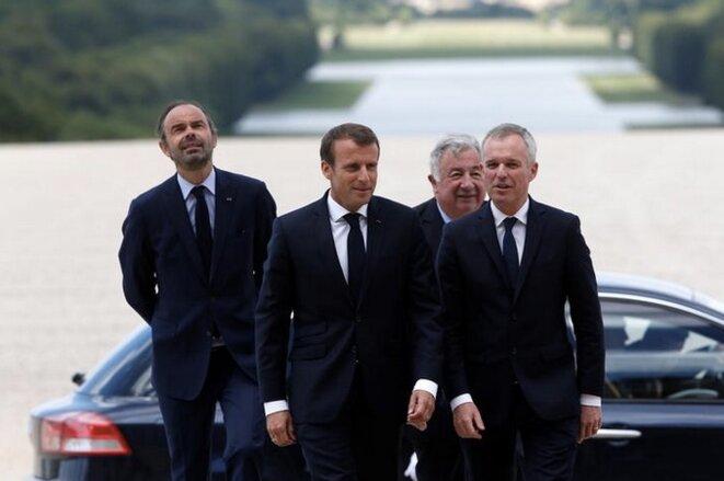 Édouard Philippe, Emmanuel Macron, Gérard Larcher et François de Rugy à Versailles, le 9 juillet. © Reuters