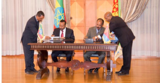 Signature de la déclaration commune entre le président érythréen et le Premier ministre éthiopien