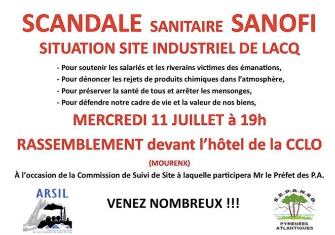 Tract de l'Arsil et de la Sepanso contre les pollutions de l'usine Sanofi de Mourenx.