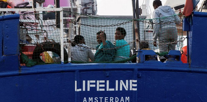 Rescued migrants on board the MV Lifeline shortly before disembarking in Malta. © Reuters