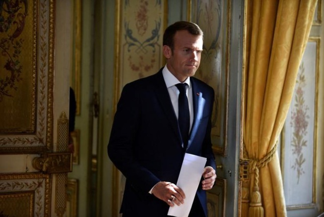 Emmanuel Macron à l'Élysée, le 17 juillet 2018. © Reuters