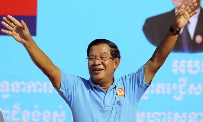 Le premier ministre du Cambodge, en campagne à Phnom Penh, le 2 juin 2017. © Reuters