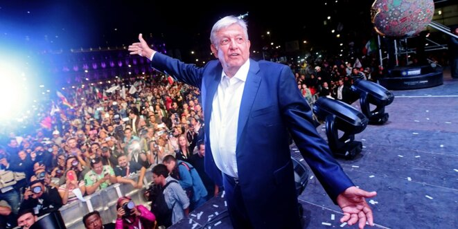 Le candidat de gauche Andrés Manuel Lopez Obrador, après l'annonce de sa victoire à l'élection présidentielle mexicaine © AFP
