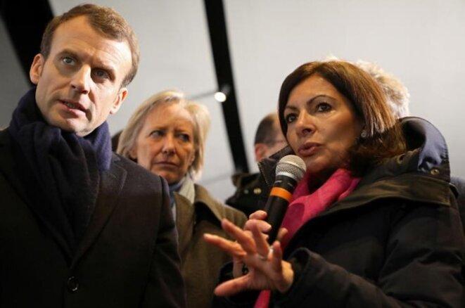 Emmanuel Macron et Anne Hidalgo au Stade de France, à Saint-Denis, le 27 février. © Reuters