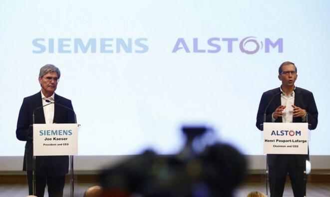 Le PDG de Siemens et celui d'Alstom lors de l'annonce de la fusion en septembre 2017. © Alstom