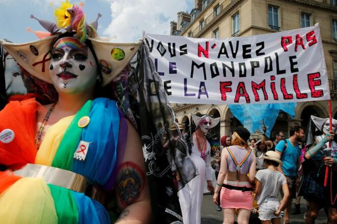 Durant la marche des fiertés à Paris le 30 juin 2018. © Reuters/Pascal Rossignol