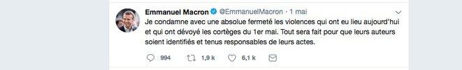 La reacción de Emmanuel Macron tras los incidentes que ocurrieron durante la manifestación del 1 de mayo. © DR