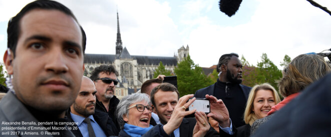 Above: Alexandre Benalla (left) with Emmanuel Macron (centre) during a presidential election campaign visit to Amiens, northern France, in April 2017.