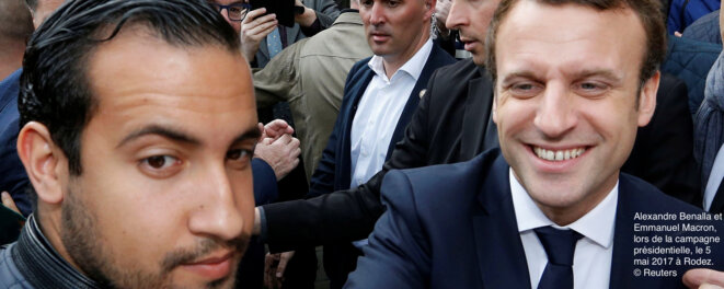 Alexandre Benalla with Emmanuel Macron in Rodez, south-west France, during the presidential election campaign in May 2017.