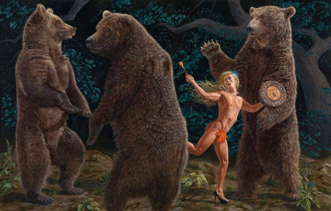 "Kent Monkman, ""The tree bachelors"", Acrylique sur toile, 2,10 m x 3,30 m, 2018, Exposition ""La belle et la bête"", Centre culturel canadien, Paris. © Kent Monkman"