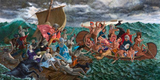 """Kent Monkman, """"Miss chief Eagle wet dream"""", Acrylique sur toile, 7,5 m x 3,5 m, 2018,  Exposition """"La belle et la bête"""", Centre culturel canadien, Paris © Kent Monkman"""