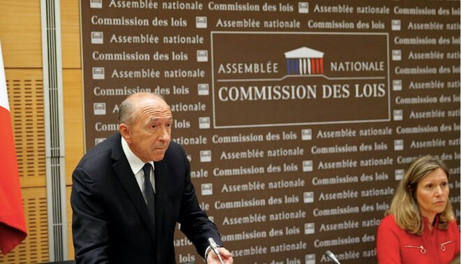 French interior minister Gérard Collomb appearing before MPs on Monday. © Reuters