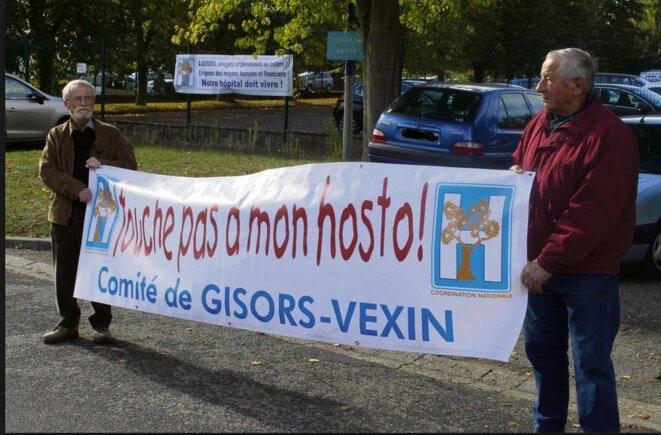 Manifestation à Gisors en 2016 en faveur du maintien de l'hôpital © DR