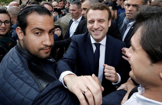 Alexandre Benalla, lors d'un déplacement d'Emmanuel Macron. © Reuters