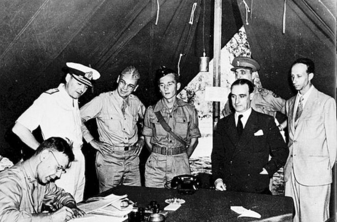 La signature de l'armistice de Cassibile.