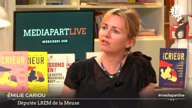 La députée LREM Émilie Cariou sur le plateau de Mediapart Live en juin 2017. © Mediapart