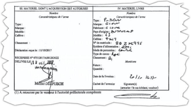 Extrait du permis de port d'armes d'Alexandre Benalla. © Document Mediapart