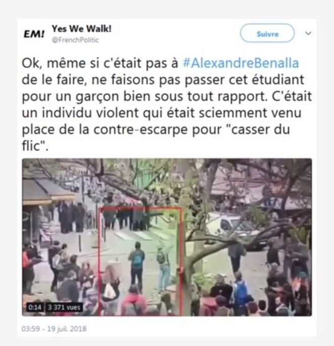 Capture de l'un des tweets relayant la vidéosurveillance. © DR