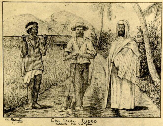 Gravure représentant un Kanak, un colon français et un déporté algérien en Nouvelle-Calédonie © DR
