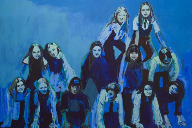 """Claire Tabouret, """"The blue pyramid"""", huile sur toile, Exposition """"Les veilleurs"""", Collections Lambert, Avignon, 2018 © Clare Tabouret"""