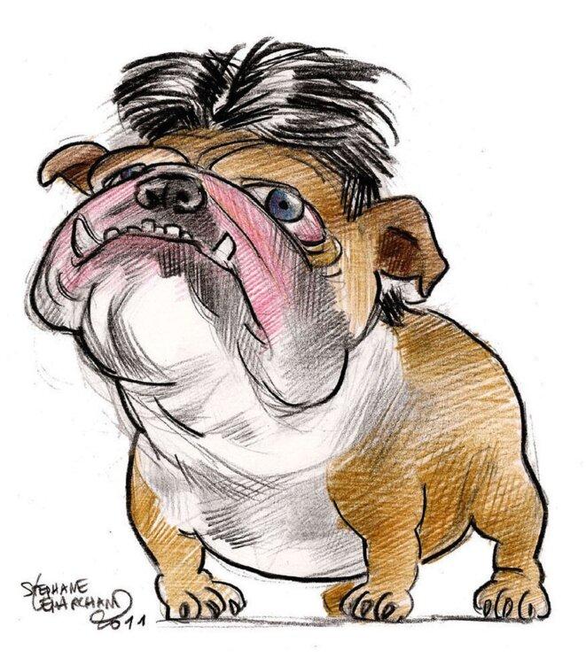 Stéphane Lemarchand Caricaturiste. Dessin au crayon de couleur sur papier
