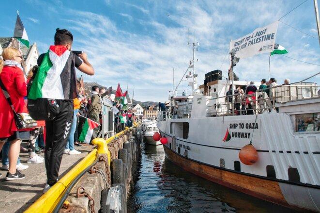 Le navire humanitaire « Al-Awda » au port de Bergen (Norvège) en avril. © Freedom Flotilla Coalition